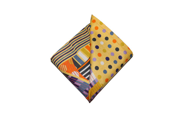 Yellow Multi-Color Pocket Square