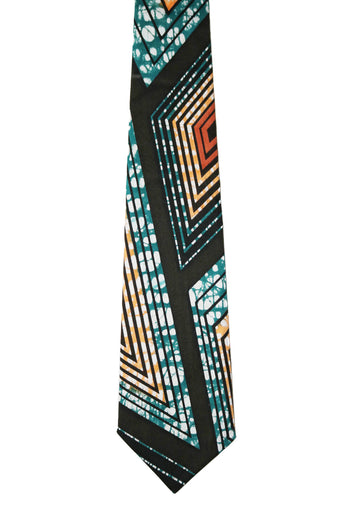 Turquoise, Orange & Red Tie