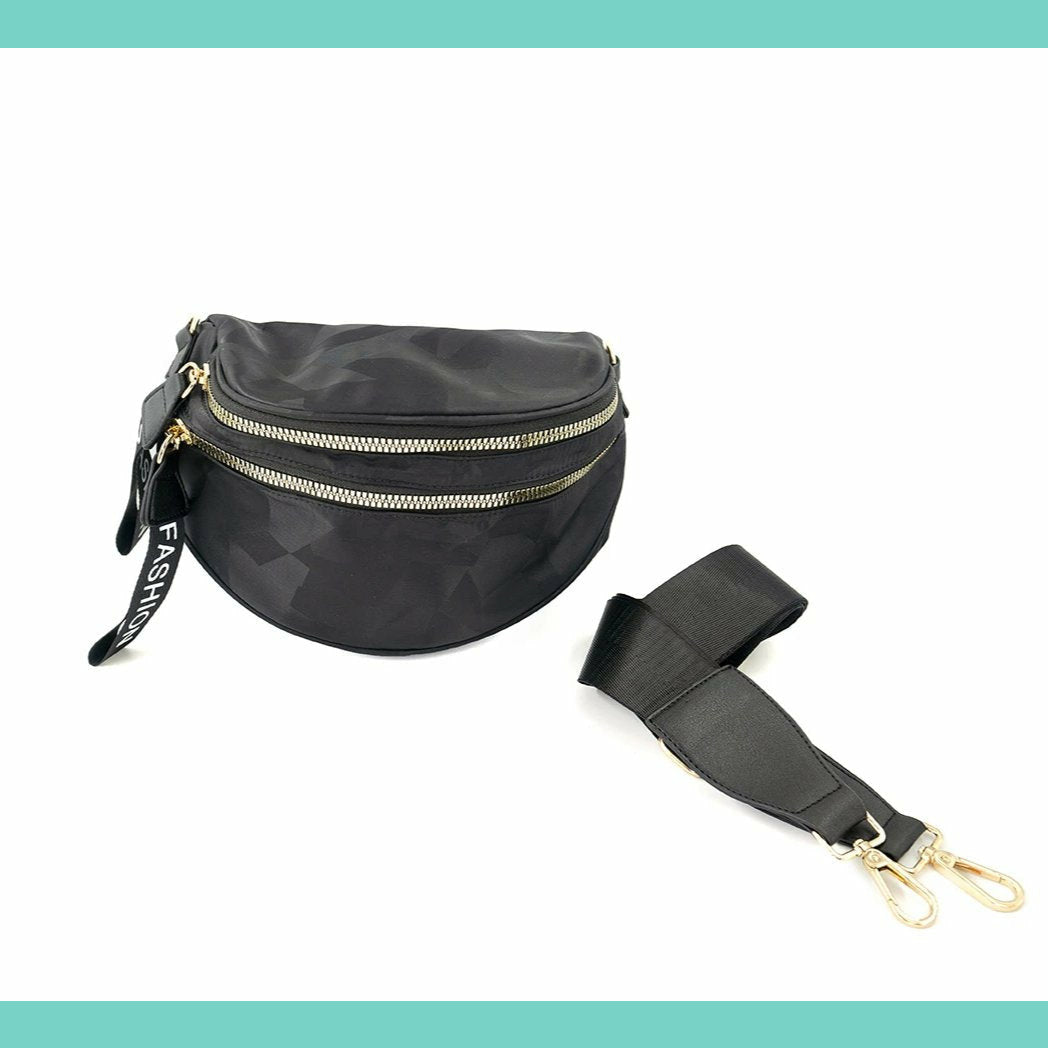 Black Nylon Fanny Pack Crossbody Purse
