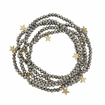 Hematite Crystal with Gold Star Bracelets (Set of 5)