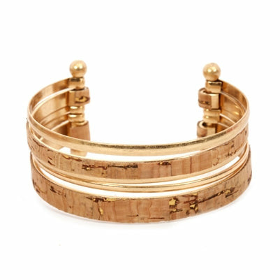 Gold and Cork Layered Cuff
