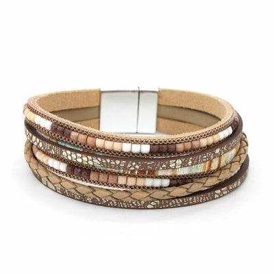 Brown Leather and Beaded Bracelet