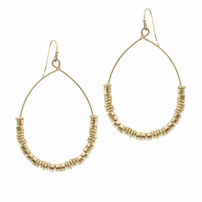 Gold Teardrop with Metal Disc Earrings