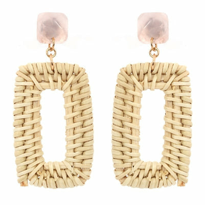 Pink with Rattan Oval Earring