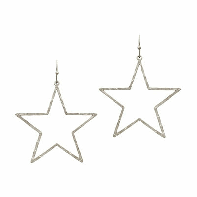 Hammered Silver Star Earrings