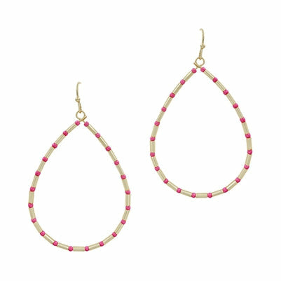 Gold Pink Beaded Teardrop Earring