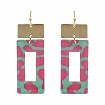 Pink/Teal Leopard Acrylic Earring