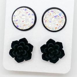 Black Succulent Duo Studs