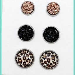 Leopard Rose Black Trio Studs