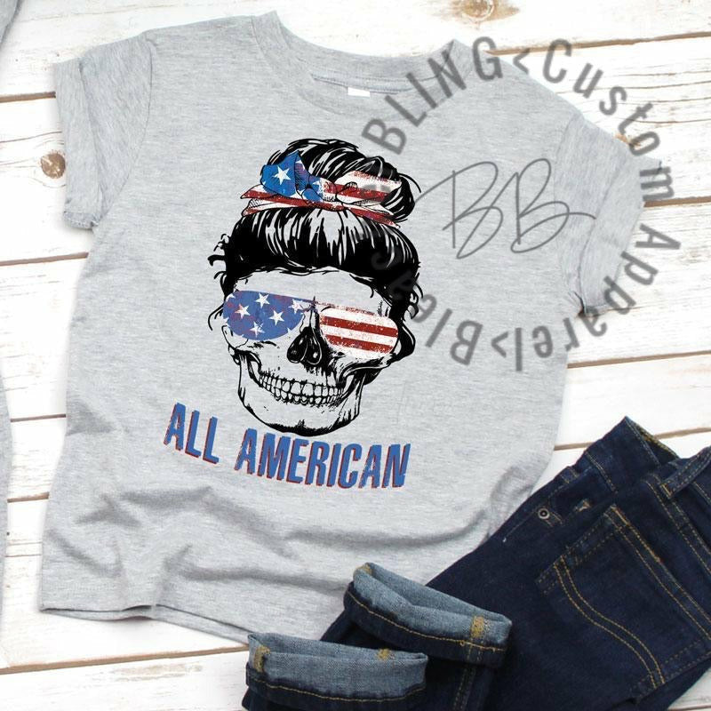 All American Messy Bun Graphic Tee