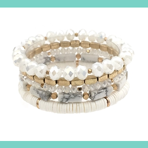 White & Gold Stretch Bracelet Set