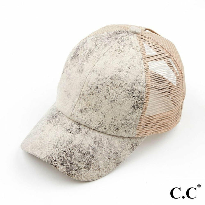 CC Ponytail Cap Faux Leather Beige