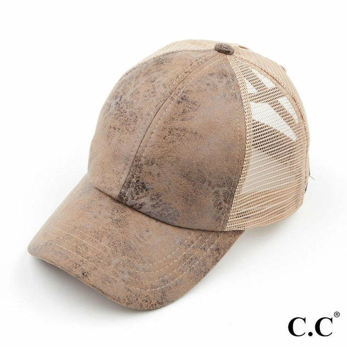 CC Ponytail Cap Faux Leather Taupe