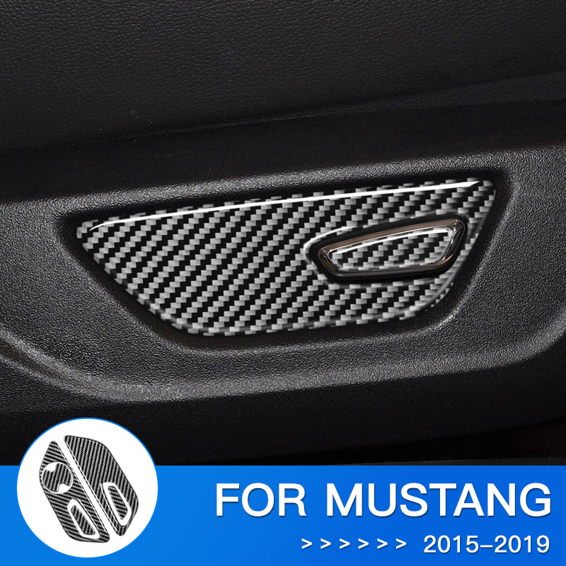 DynaCarbon™ Carbon Fiber Seat Function Control Trim Overlay for Ford Mustang
