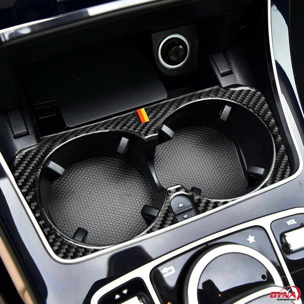 DynaCarbon™️ Carbon Fiber Interior Cup Holder Frame Trim Overlay for Mercedes Benz W205 C Class C180 C200 C300 GLC