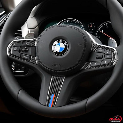 DynaCarbon™️ Carbon Fiber Steering Wheel Trim Overlay for BMW 5 Series G30 X3 G01