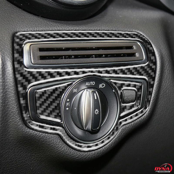DynaCarbon™️ Carbon Fiber LHD Headlight Switch Trim Overlay for Mercedes Benz W205 C Class C180 C200 C300 GLC
