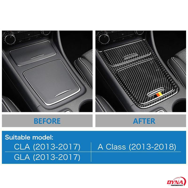 DynaCarbon™️ Carbon Fiber Center Console Panel Trim Overlay for Mercedes Benz A Class CLA GLA 2013-2018