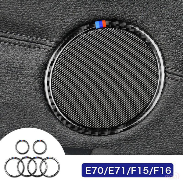 DynaCarbon™️ Carbon Fiber Audio Speakers Cover Trim Overlay for BMW X5 X6 E70 E71 F15 F16