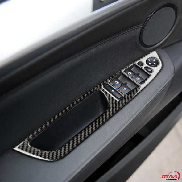 DynaCarbon™️ Carbon Fiber Full Set Window Control Frame Trim Overlay LHD for BMW E70 X5 E71 X6