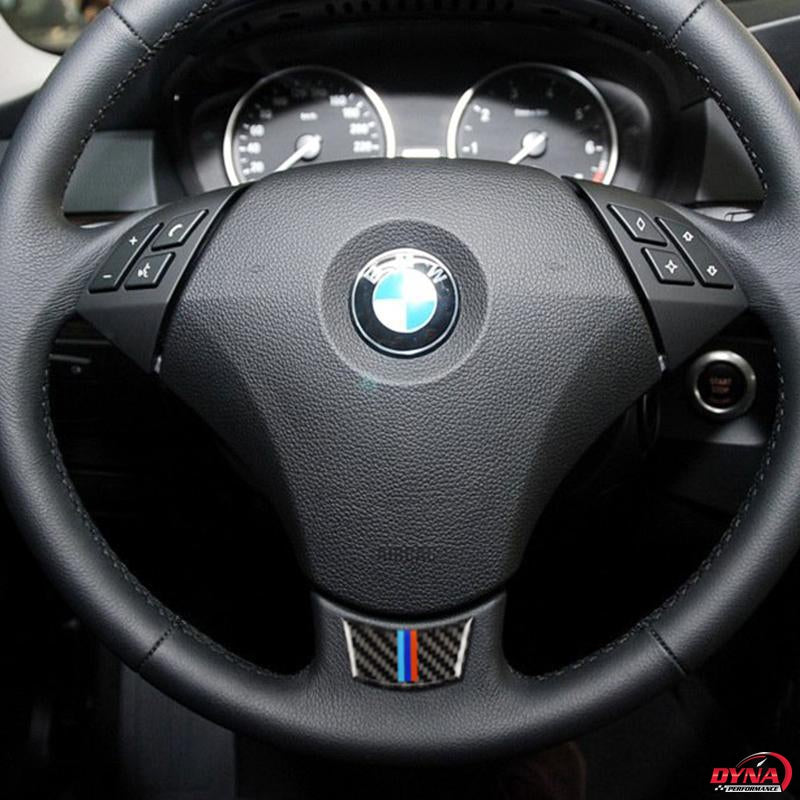 DynaCarbon™️ Carbon Fiber Steering Wheel Trim Overlay for BMW E60 E61 5 Series 2004-2010