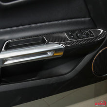DynaCarbon™️ Carbon Fiber LHD Window Control Panel Trim Overlay for Ford Mustang 2015-2019