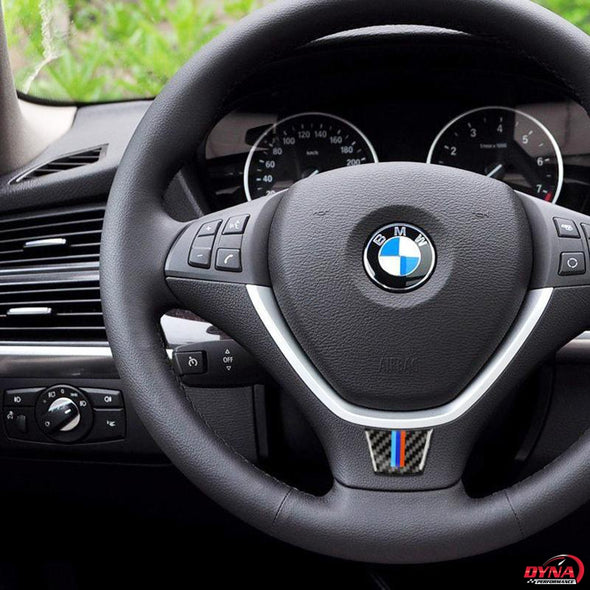 DynaCarbon™️ Carbon Fiber Steering Wheel Trim Overlay for BMW E70 X5 E71 X6