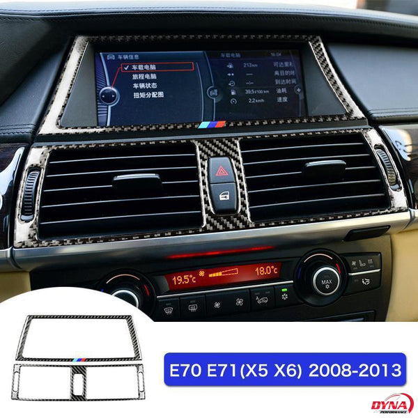 DynaCarbon™️ Carbon Fiber Navigation Screen Frame Trim Overlay for BMW E70 X5 E71 X6