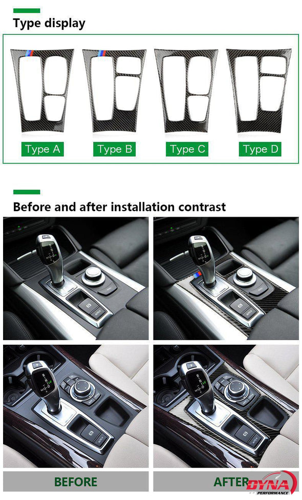 DynaCarbon™️ Carbon Fiber LHD Gearshift Center Console Panel Trim Overlay for BMW E70 X5 E71 X6 2008-2013
