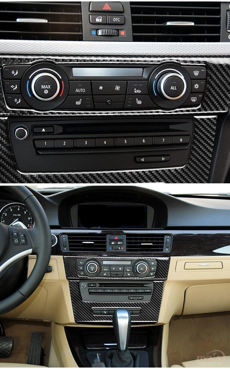 DynaCarbon™️ Carbon Fiber Control Panel Trim Overlay for BMW 3 Series E90 E92 E93