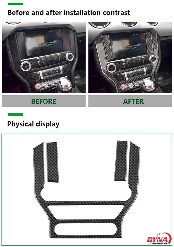 DynaCarbon™️ Carbon Fiber LHD Full Multimedia Console Frame Trim Overlay for Ford Mustang 2015-2019