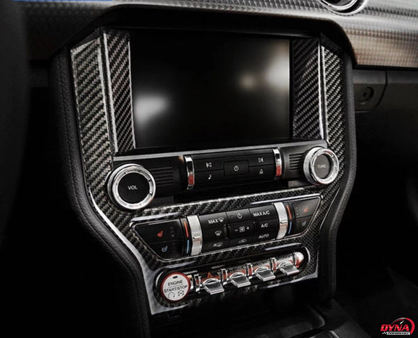 DynaCarbon™️ Carbon Fiber LHD Full Multimedia Console Frame Trim Overlay for Ford Mustang 2015-2021