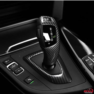 TEST TEST DYNACARBON™️ CARBON FIBER LHD GEARSHIFT KNOB COVER TRIM Overlay FOR BMW