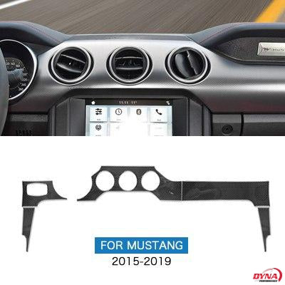 DynaCarbon™️ NON-PERFORMANCE PACK Carbon Fiber 5PCS Full Set Dashboard Instrumental Panel Trim Overlay for Ford Mustang 2015-2019