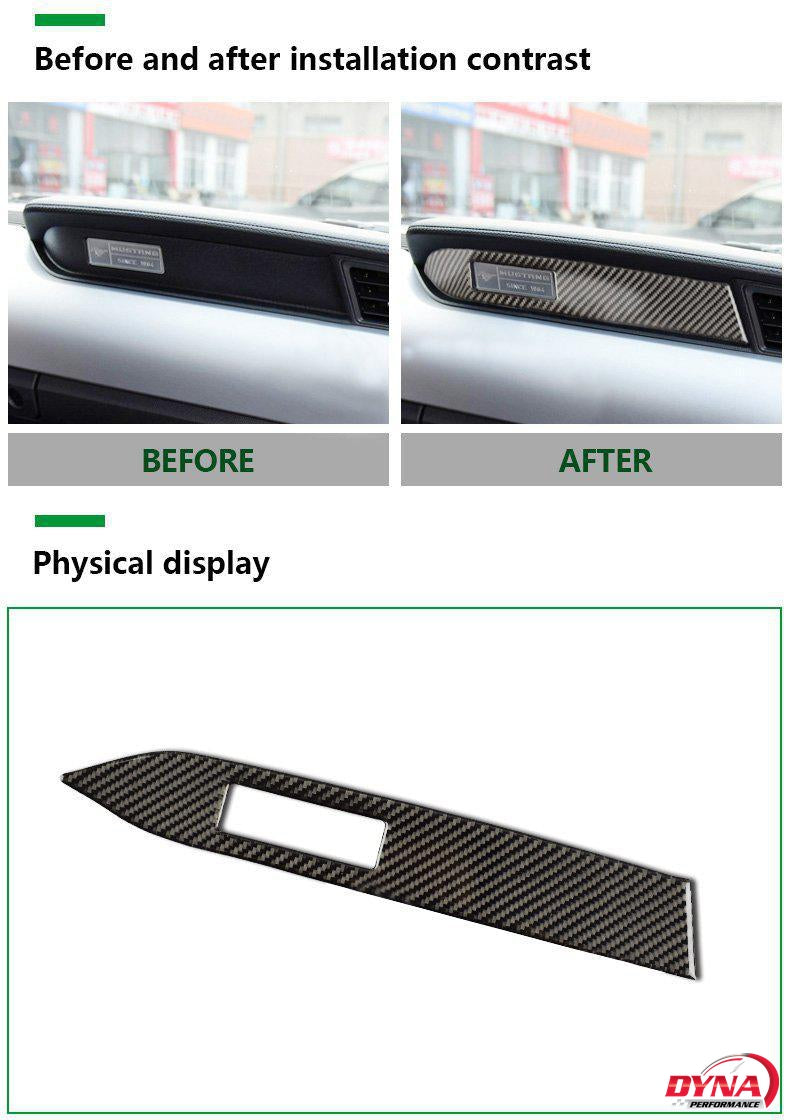 DynaCarbon™️ Carbon Fiber LHD Passenger Dashboard Strip Trim Overlay for Ford Mustang 2015-2019