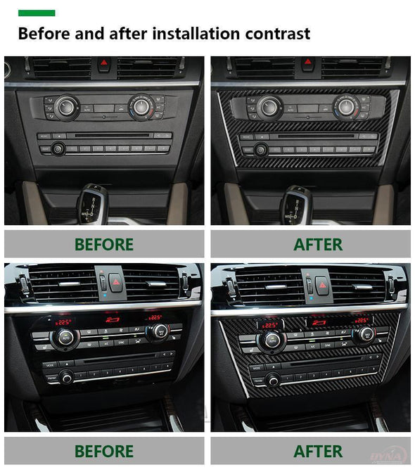DynaCarbon™️ Carbon Fiber AC CD Control Panel Trim Overlay for BMW X3 F25 X4 F26