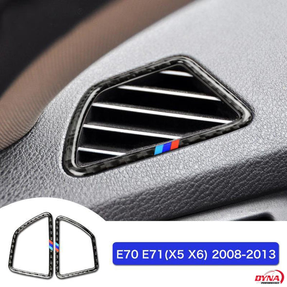 DynaCarbon™️ Carbon Fiber LHD Air Conditioning Outlet Frame Trim Overlay Car for BMW E70 X5 E71 X6