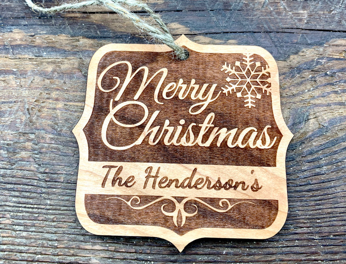 Wood Ornament Merry Christmas Design
