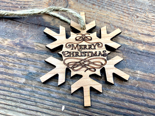 Cherry Snowflake Wood Ornament-Merry Christmas