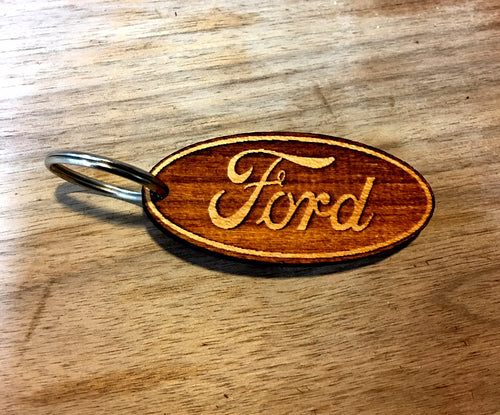 Wooden Key Chain- Ford Emblem
