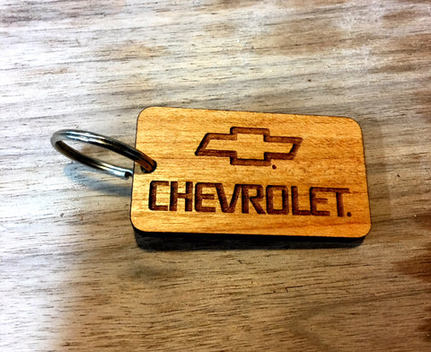Wooden Key Chain- Chevrolet Square
