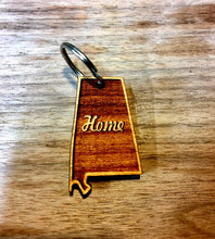 "Wooden Key Chain- State of Alabama, ""Home"" Slogan"
