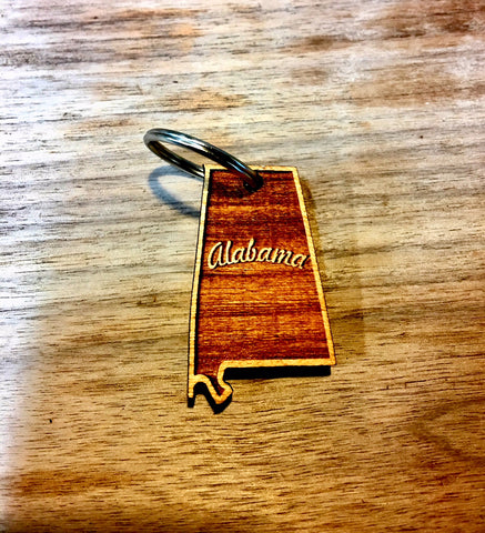 "Wooden Key Chain- State of Alabama, ""Alabama"" Slogan"