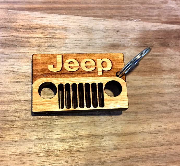 Wooden Key Chain- Jeep Square