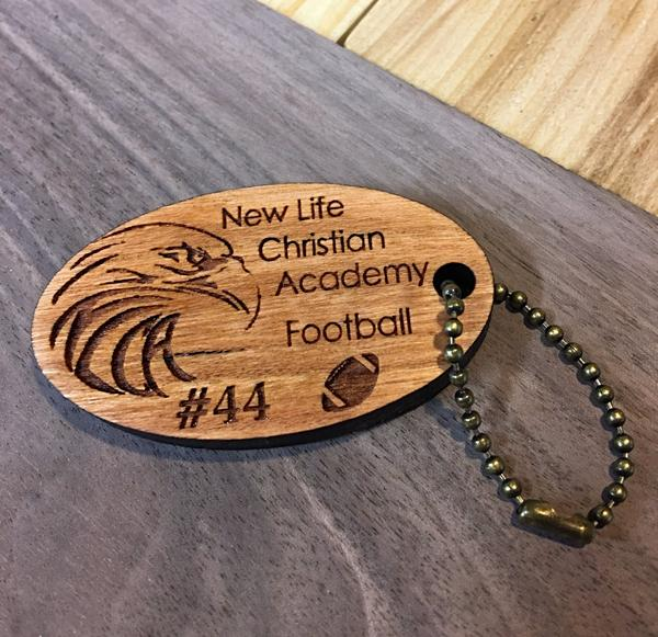 Wooden Key Chain- New Life Christian Academy Sports