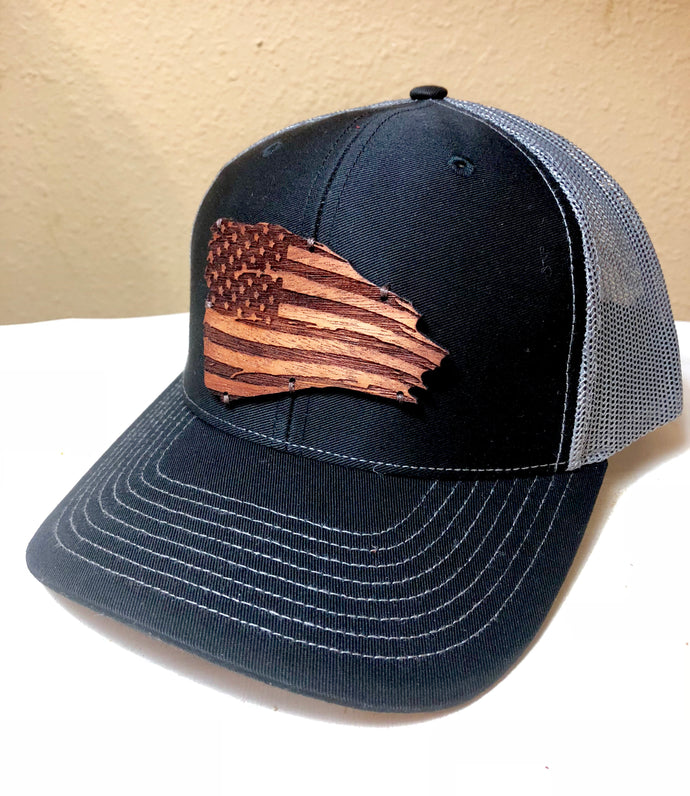 Wood Patch Hat- Rustic American Flag