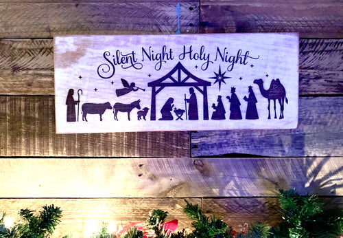 Distressed Mahogany Silent Night Nativity Wall Decor