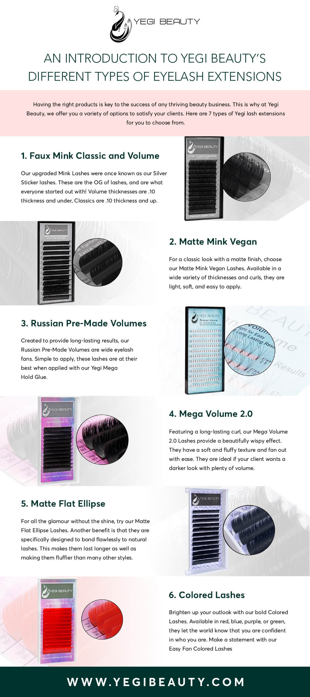 Infographics for Different Eyelash Extensions by Yegi Beauty