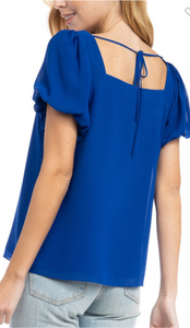 Square neck balloon sleeve top - sapphire