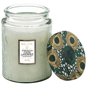 French Cade & Lavender Large Glass Jar Candle